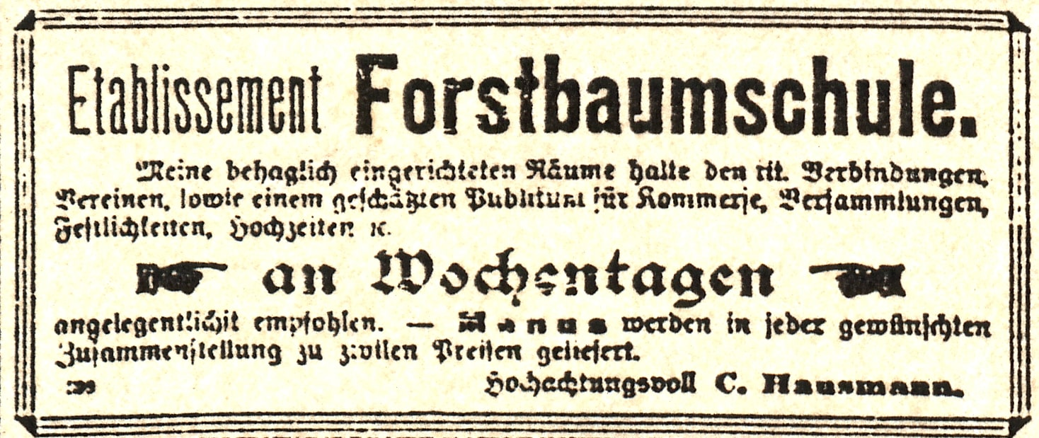 Zeitungsanzeige Ausschnitt 2 nur Forstbaumschule
